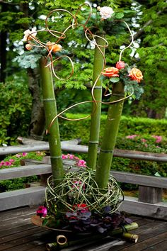Ikebana: I love the bamboo addition to this one!