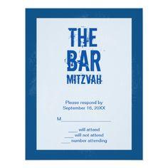 Rock Band Bar Mitzvah Reply Card In Blue Custom Invitation
