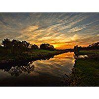 Artland Echt-Glas-Wandbild Deco Glass Andrea Potratz Sonnenuntergang in Stormarn Landschaften Sonnenaufgang & -untergang Fotografie Orange 60 x 80 x 1,1 cm