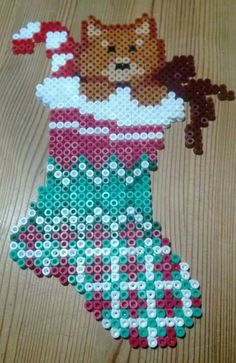 Christmas stocking hama perler beads by Susanne Damgård Sørensen
