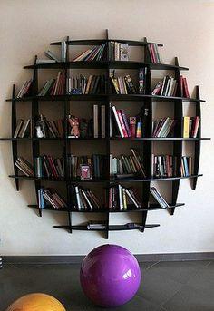 interior design home decor furniture shelves shelving bookshelves--could paint to look like a sports ball. Creative Bookshelves, Bookshelf Design, Round Bookshelf, Book Shelves, Vintage Bookshelf, Modern Bookshelf, Bookshelf Plans, Bookshelf Ideas, Simple Bookshelf