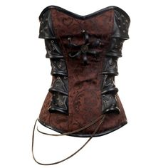 CD-313 Brown Steampunk Style Corset with Chain Detail - Steampunk Clothing