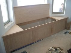 Oak bay window seat/storage. Large opening