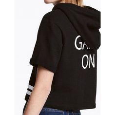 Choies Black Slogan Printed Back Hooded Short Sleeve T-shirt ($15) ❤ liked on Polyvore featuring tops, t-shirts, black, hooded t shirt, hooded top, short sleeve tops, short sleeve tee and slogan t shirts