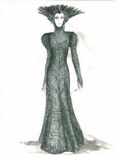 'Colleen Atwood's sketch of a costume for evil queen Ravenna, played by Charlize Theron' #costumedesign #illustration #snowwhite #theevilqueen #villainesses