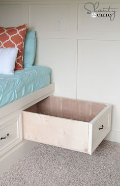 DIY Built-In Storage Bed by Shanty 2 Chic