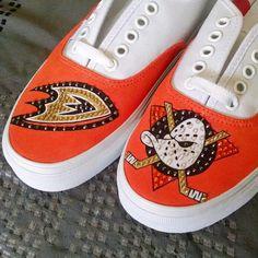 Anaheim Ducks Vans by OCSneakerKing on Etsy