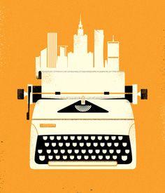 The world is your oyster when you write Ciudad literaria (ilustración de Adam Quest)