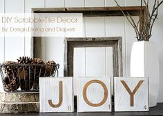 Happy Holidays: Distressed Scrabble Tile Decorations