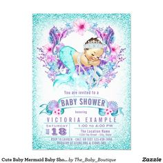 Cute Baby Mermaid Shower Invitations Gifts Invites For