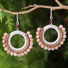 Peach Jasper Beaded Round Earrings from Thailand - Divinely Peach | NOVICA