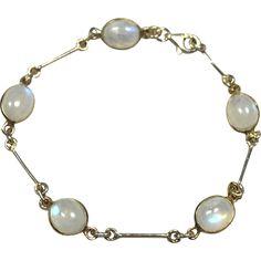 Sterling Silver Genuine Moonstone Bracelet from sleepyhollowvintage on Ruby Lane