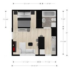 Ryan Shed Plans Shed Plans and Designs For Easy Shed Building! — RyanShedPlans Studio or small cabin a big shed might work for this layout Studio Apartment Floor Plans, Studio Floor Plans, Studio Apartment Design, Apartment Plans, Small House Floor Plans, Garage Studio Apartment, The Plan, How To Plan, Big Sheds