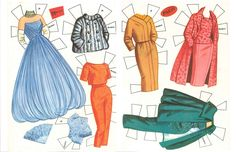 1960 Debbie Reynolds paper doll clothes. The blue gown was one of my favorites and the pink suit / eBay
