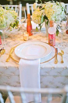 Decor pink gold Wedding Inspiration - Style Me Pretty