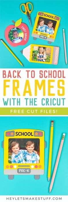 Immortalize those first day of school photos with these three school-themed frames, cut on your Cricut from @joann! These back to school frames are perfect for scrapbooks, teacher projects, refrigerators and more—get the free cut files to make them! AD #handmadewithjoann