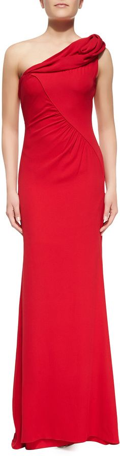 Badgley Mischka Collection Draped One-Shoulder Column Gown #one #shoulder #badgley #mischka #red #gown #bridesmaid #dress