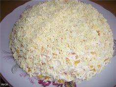 Салат женская слабость: сыр, кр палочки, кукуруза, яблоко....