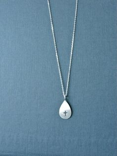 Cross Necklace Drop Silver Necklace. Christian Jewelry. $43.00, via Etsy.