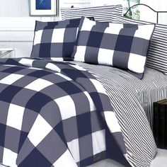 navy and gray comforter | Navy and White Duvet Cover Set