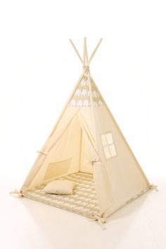 Kids Teepee Tent - Plain cotton indoor childrenu0027s tipi with poles  sc 1 st  Pinterest : wigwam teepee play tent - memphite.com