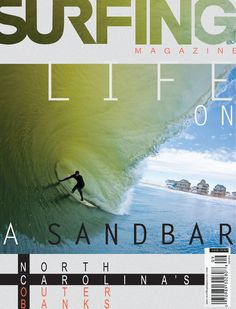Surfing magazine cover, with good use of black line and the different color