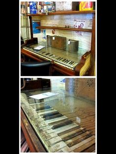 old piano upcycled to a desk - love that they kept the keys