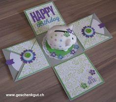 Überraschungsbox Explosionsbox Geburtstag Sparschweinchen Geldgeschenk Gutschein