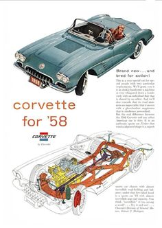1958 Chevrolet Corvette #ClassicCars #CTins #Chevy #chevroletcorvette1958