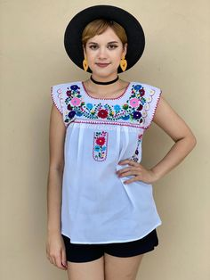 White cotton short sleeve mexican blouse women, mexican embroidered blouse, cottage core, floral summer blouse, cinco de mayo, festive Mexican Top, Mexican Blouse, Mexican Outfit, Picnic Outfits, Romper Pattern, Summer Blouses, Peasant Blouse, Embroidered Blouse, Cotton Shorts