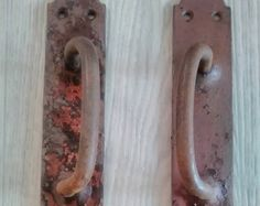 Старинный дверной ручки, антикварные ручки для двери, набор из 2 штук 1930-40г. Металлические дверные ручки. Железными ручками. Русский стиль.