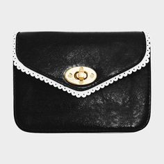 Cute Lace Trim Mini Clutch Crossbody Bag - Black