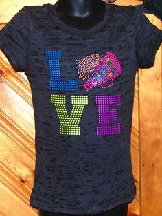 Love Cheer Neon Rhinestud hot color Burnout t-shirt  cheerleader on Etsy, $16.00