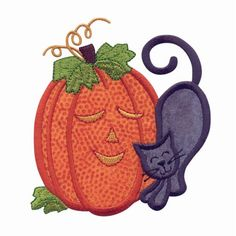 Cat And Pumpkin Applique Embroidery Design   AnnTheGran