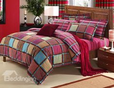 New Arrival 100% Cotton Thick Sanding Checked 4 Piece Bedding Sets/Duvet Cover Sets
