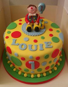 Mr tumble cake Www.facebook.com/terrietreasures Leo Birthday, First Birthday Cakes, Birthday Ideas, Mr Tumble, Cupcake Cakes, Cupcakes, Occasion Cakes, Baby Shower Cakes, Baby Ideas
