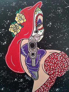 Jessica Sugar Skull Canvas Print