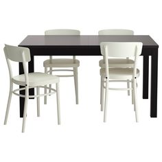 IKEA - BJURSTA / IDOLF, Table and 4 chairs, Extendable dining table with 2 extra leaves seats 4-8; makes it possible to adjust the table size according to need.You can store the extension leaves within easy reach under the table top.Concealed lock keeps the extension leaves in place and prevents gaps between them.The clear-lacquered surface is easy to wipe clean.You sit comfortably thanks to the shaped back.