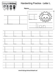 "This is a letter L tracing worksheet. Children can trace uppercase and lowercase letters and the word ""lion."" You can download, print, or use it online. English Worksheets For Kindergarten, Letter Worksheets For Preschool, Handwriting Practice Worksheets, Handwriting Analysis, Preschool Writing, Alphabet Worksheets, Handwriting Alphabet, Practice Cursive, Alphabet Tracing"