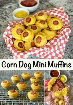 CORN DOG MINI MUFFINS These corn dog mini muffins are sweet cornbread, baked around a juicy hot dog in a mini muffin tin.  They are perfectly pop-able and so darn delicious! #corndog #cornbreadmuffins #minimuffins