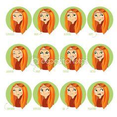 Выражения лица девушек — Векторная картинка #98419054