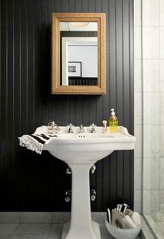 12 Belos exemplos de casas de banho com painéis de madeira na parede ~ Decoração e Ideias