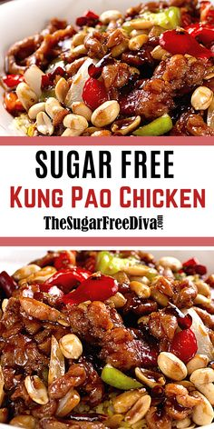 This yummy tasting recipe for chicken is an easy meal to make. Make this better than takeout copycat recipe for Asian style Kung Pao Chicken. Perfect DIY dinner idea for your next meal without adding sugar! Keto Recipes, Cooking Recipes, Asian Recipes, Chinese Recipes, Keto Foods, Chinese Food, Cooked Chicken Recipes, Low Carb Kung Pao Chicken Recipe, Hamburger Recipes