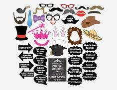 Class Reunion PRINTABLE photo booth props by redmorningstudios