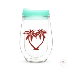 Palm Trees decal for wine glass / DIY Decal /  Tumbler Decal / Bachelorette Party by PBCreativeDesigns on Etsy