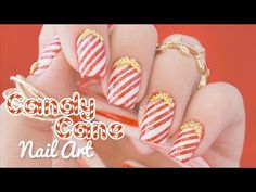 """Candy Cane Nail Art    using Whats Up Nails """"wrapping paper"""" stecils - YouTube"""