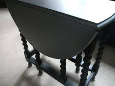 Silver And Black Fold Away Down Drop Leaf Dining Table