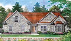 Elevation of Cottage   Craftsman   Hillside   House Plan 97053