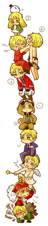 Hetalia, Tower of England, poor England seems to be crushed under his huge personality flaws.  His flaws make me love him more.. X3