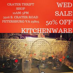 So much glassware! Whether you are looking for #plates or #masonjars we have something for you!     #dinnerparty #holidayentertaining #vintagedining #vintagekitchen #charityshop #whybuynew #kitchenware #dining #buylocal #shoplocal #thriftstore #thriftshop #hopewellva #petersburgva #colonialheights #chesterfield #rva #804 #china #dinnerware #teaparty #retrokitchen